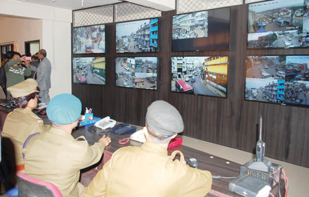 The CCTV control room at Sadar Police Station