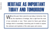 HERITAGE AS IMPORTANT TODAY AND TOMORROW